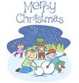 kids making a snow man on Xmas 01 vector image