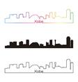 Kobe skyline linear style with rainbow vector image vector image