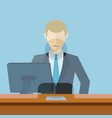 man working as bank clerk bank teller workplace vector image