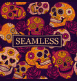 mexican sugar skulls seamless pattern vector image vector image