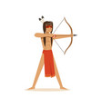 native american indian shooting a bow and arrow vector image vector image