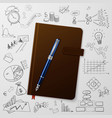 Notebook with doodles line drawing success vector image vector image