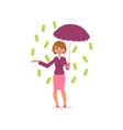 office girl with umbrella under dollar rain vector image