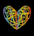 rainbow heart icon colorful polygon on black vector image vector image