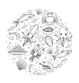 Seafood icons set in round shape line sketch vector image vector image