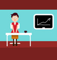 sercretary in office with graph on board - flat vector image