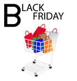Shopping Bags in Black Friday Shopping Cart vector image vector image