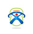 sport fitness barbel symbol people logo vector image vector image