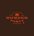 stock template of burger party label vector image vector image