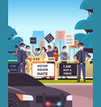 stop asian hate people holding banners against vector image vector image
