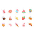sweet icons set 3d realistic objects cocktail vector image