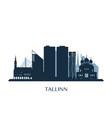 tallinn skyline monochrome silhouette vector image vector image