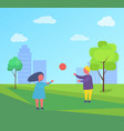 two children playing with ball outside city park vector image