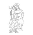 virgin mary with little jesus vector image vector image