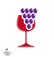 Winery award theme Stylized half full glass vector image vector image