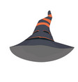 witch hat with orange stripes and face vector image