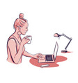 woman is working on laptop with table lamp vector image