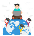 workdwide education - globe and styding man vector image