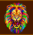 abstract multicolored portrait a growling lion vector image