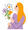 beautiful young pregnant woman with flowers vector image