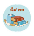 books store or library emblem - read more banner vector image