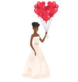 bride with bunch of heart-shaped red balloons vector image