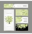 Business cards design spring tree floral vector image
