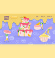 cake baking concept tiny people cartoon vector image vector image