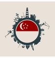 Cargo port relative silhouettes Singapore flag vector image vector image