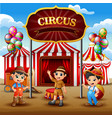 cartoon three boys standing in on the circus arena vector image vector image