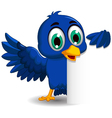 Cute blue bird cartoon holding blank sign vector image