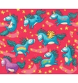Cute seamless pattern with unicorns in the red vector image vector image