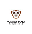 deer shield logo design concept template vector image