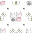 easter seamless pattern with flowers family of vector image