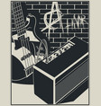 electric guitar and guitar amplifier with vector image