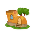 fairy-tale house in form of yellow shoe with vector image vector image