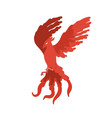 fairy tale red bird phoenix flat vector image