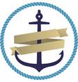 flat anchor icon or logo with orange ribbon