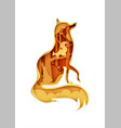 fox silhouette with nature wild animals inside vector image vector image