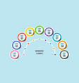 half circle chart timeline infographic templates vector image