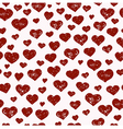 Hand drawn seamless pattern with red hearts vector image