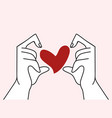 hands with shaped heart vector image vector image