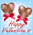 happy valentines day with heart chocolate couple vector image vector image
