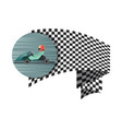 kart competition symbol with checkered flag vector image vector image
