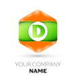 letter d logo in the colorful hexagonal vector image vector image