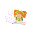 little kid lying with magic book and dream of vector image vector image