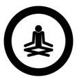 man yoga stick icon black color in circle vector image vector image