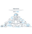 meditation practices linear landing page vector image vector image