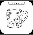 mug with hearts hand drawing icon vector image