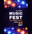 music fest poster template with shining fireworks vector image vector image